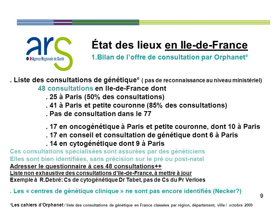 99 État des lieux en Ile-de-France 1.Bilan de loffre de consultation par Orphanet°. Liste des consultations de génétique° ( pas de reconnaissance au n