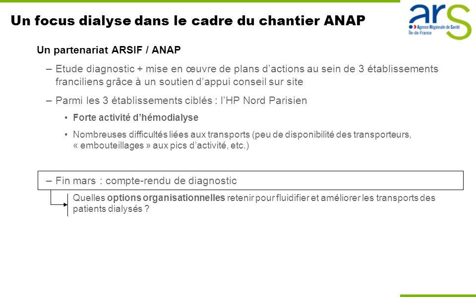 Un focus dialyse dans le cadre du chantier ANAP Un partenariat ARSIF / ANAP –Etude diagnostic + mise en œuvre de plans dactions au sein de 3 établisse