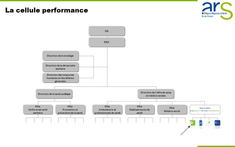 La cellule performance Direction de loffre de soins et médico-sociale Pôle Ambulatoire et professionnels de santé Pôle Etablissements de santé Pôle Mé