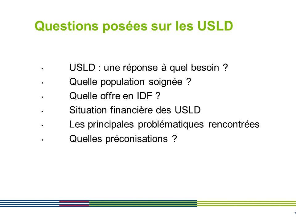 3 Questions posées sur les USLD USLD : une réponse à quel besoin ? Quelle population soignée ? Quelle offre en IDF ? Situation financière des USLD Les