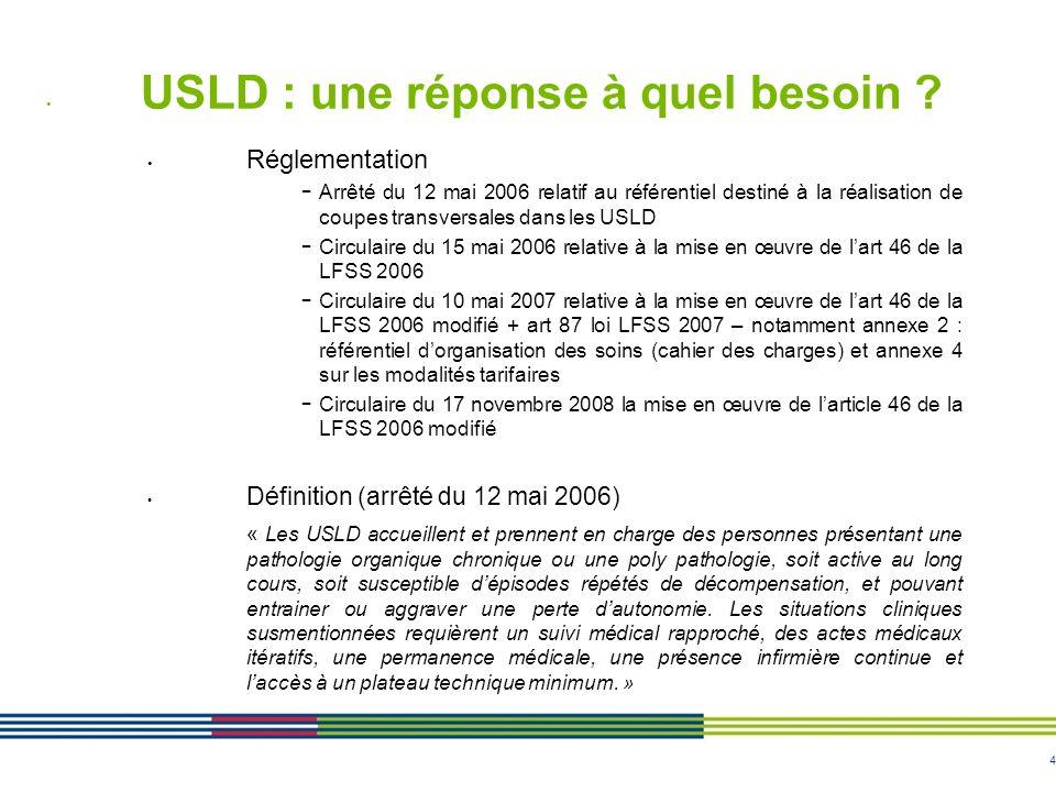 4 USLD : une réponse à quel besoin ? Réglementation - Arrêté du 12 mai 2006 relatif au référentiel destiné à la réalisation de coupes transversales da