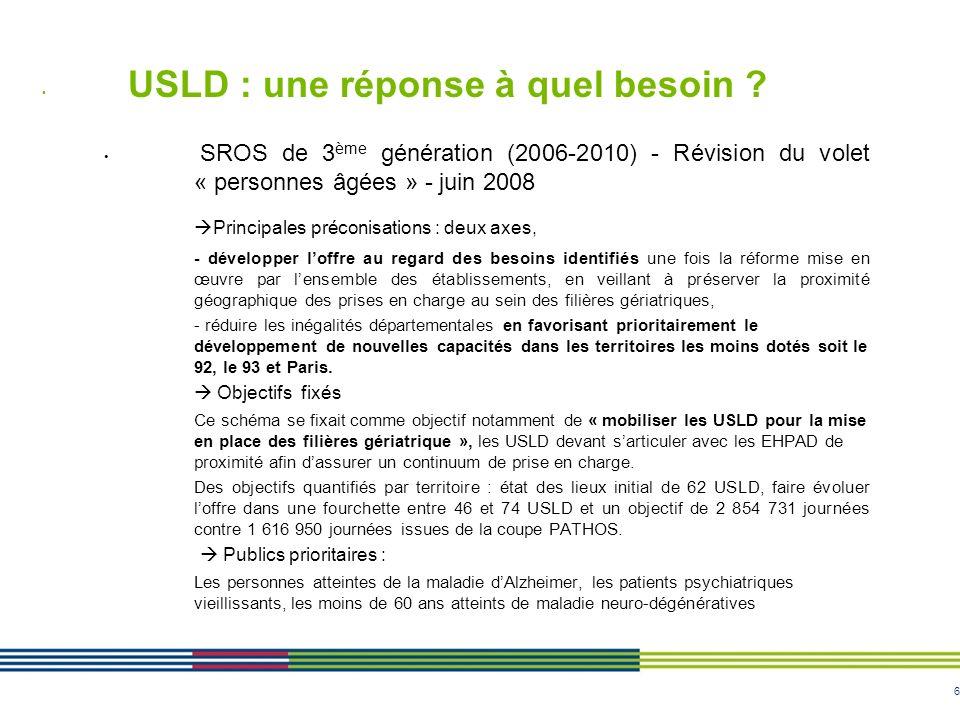 6 USLD : une réponse à quel besoin ? SROS de 3 ème génération (2006-2010) - Révision du volet « personnes âgées » - juin 2008 Principales préconisatio