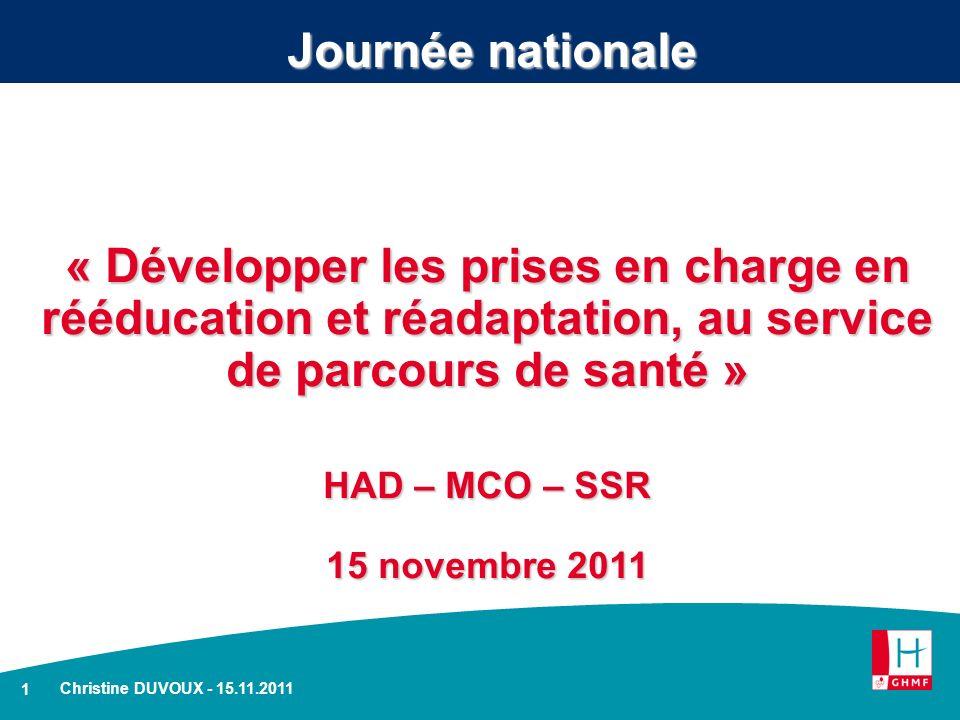 1 Christine DUVOUX - 15.11.2011 Journée nationale « Développer les prises en charge en rééducation et réadaptation, au service de parcours de santé »