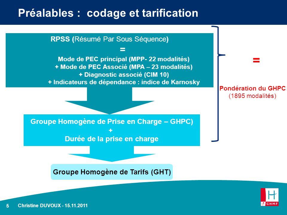 5 Christine DUVOUX - 15.11.2011 Préalables : codage et tarification Groupe Homogène de Prise en Charge – GHPC) + Durée de la prise en charge RPSS (Rés