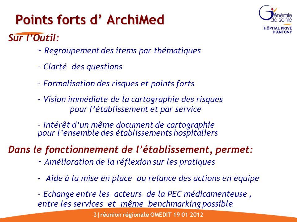3|réunion régionale OMEDIT 19 01 2012 Points forts d ArchiMed Sur lOutil: - Regroupement des items par thématiques - Clarté des questions - Formalisat