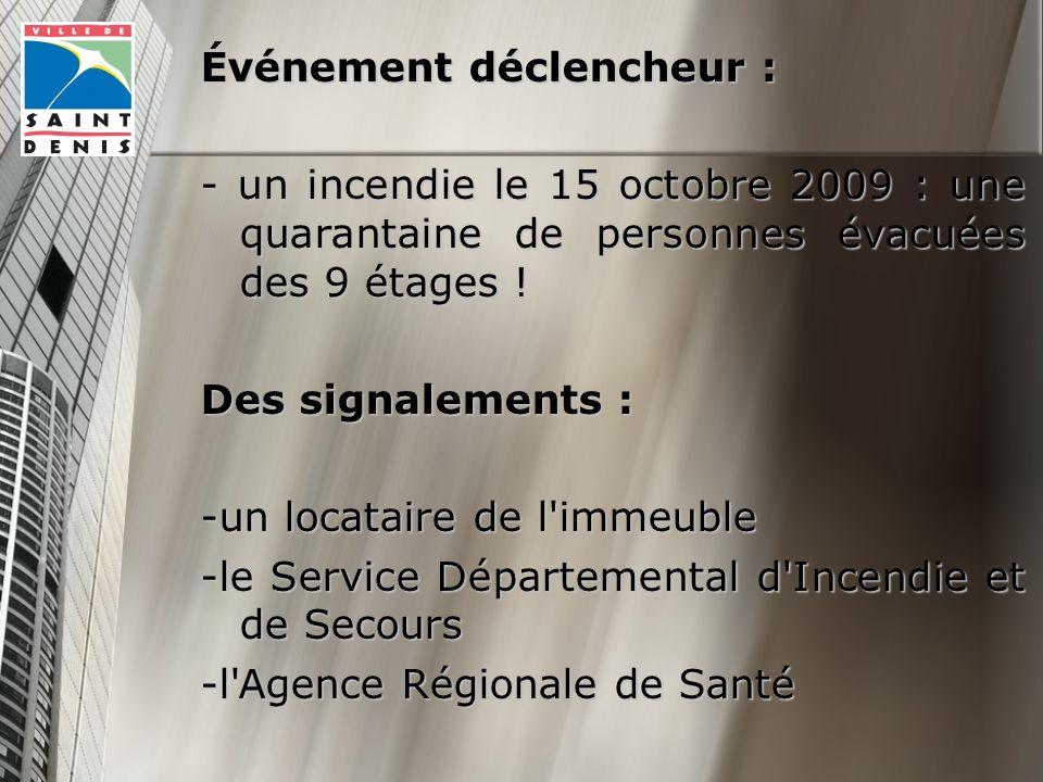 Événement déclencheur : - un incendie le 15 octobre 2009 : une quarantaine de personnes évacuées des 9 étages .