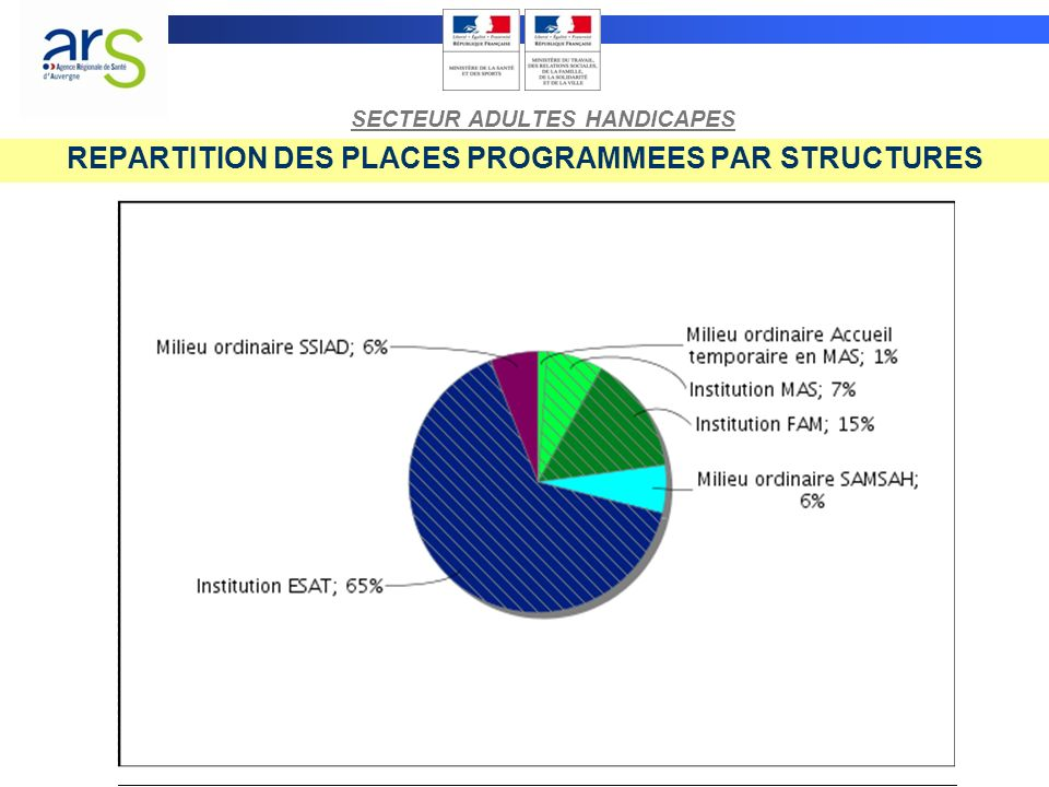 REPARTITION DES PLACES PROGRAMMEES PAR PUBLIC SECTEUR ADULTES HANDICAPES