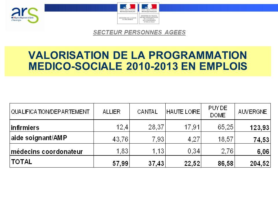 VALORISATION DE LA PROGRAMMATION MEDICO-SOCIALE 2010-2013 EN EMPLOIS SECTEUR PERSONNES AGEES