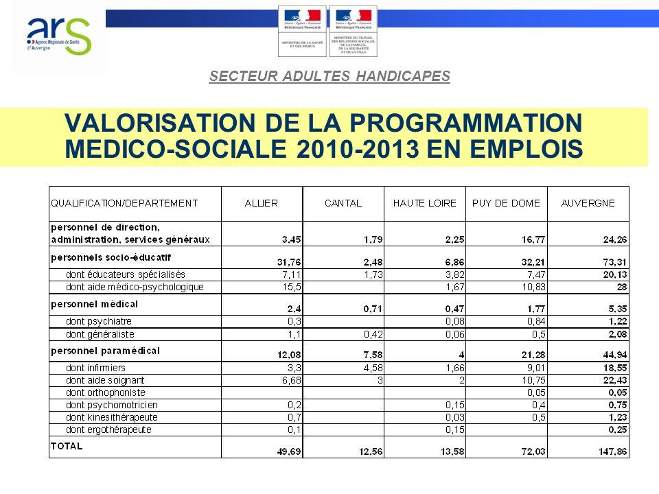 VALORISATION DE LA PROGRAMMATION MEDICO-SOCIALE 2010-2013 EN EMPLOIS SECTEUR ADULTES HANDICAPES