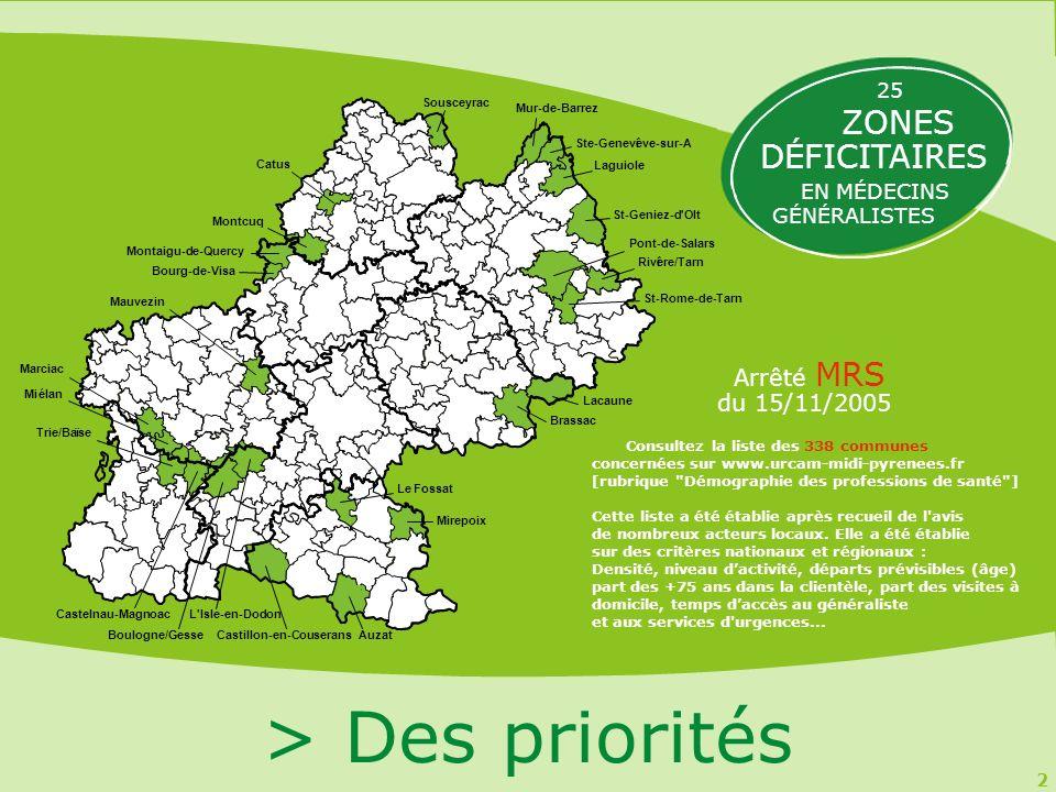 2 > Des priorités Arrêté MRS du 15/11/2005 25 ZONES DÉFICITAIRES EN MÉDECINS GÉNÉRALISTES Ste-Geneviève-sur-A Mur-de-Barrez Sousceyrac St-Rome-de-Tarn