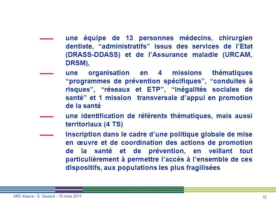 12 ARS Alsace - S. Gaulard - 10 mars 2011 une équipe de 13 personnes médecins, chirurgien dentiste, administratifs issus des services de lEtat (DRASS-
