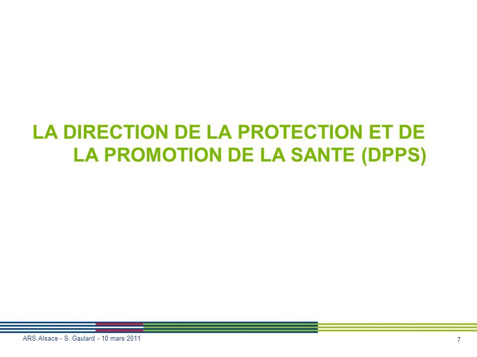 7 ARS Alsace - S. Gaulard - 10 mars 2011 LA DIRECTION DE LA PROTECTION ET DE LA PROMOTION DE LA SANTE (DPPS)