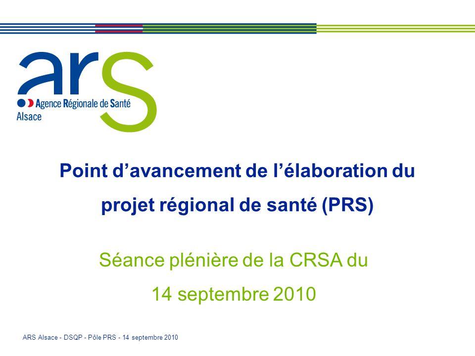 ARS Alsace - DSQP - Pôle PRS - 14 septembre 2010 Point davancement de lélaboration du projet régional de santé (PRS) Séance plénière de la CRSA du 14