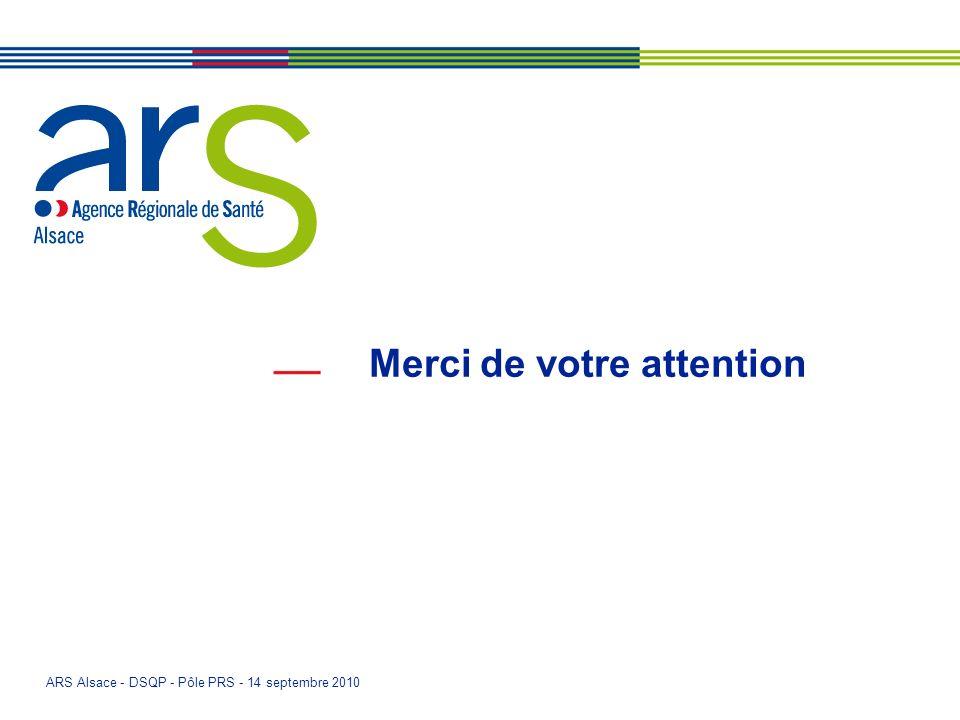 ARS Alsace - DSQP - Pôle PRS - 14 septembre 2010 Merci de votre attention