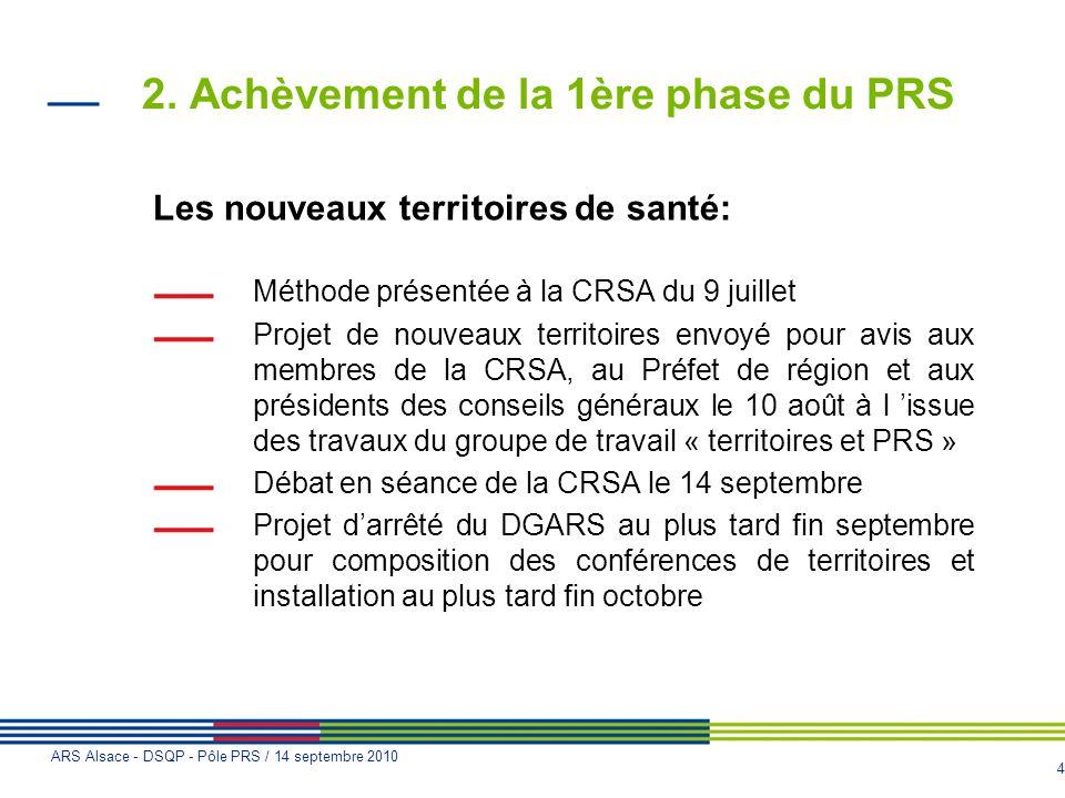 4 ARS Alsace - DSQP - Pôle PRS / 14 septembre 2010 2. Achèvement de la 1ère phase du PRS Les nouveaux territoires de santé: Méthode présentée à la CRS