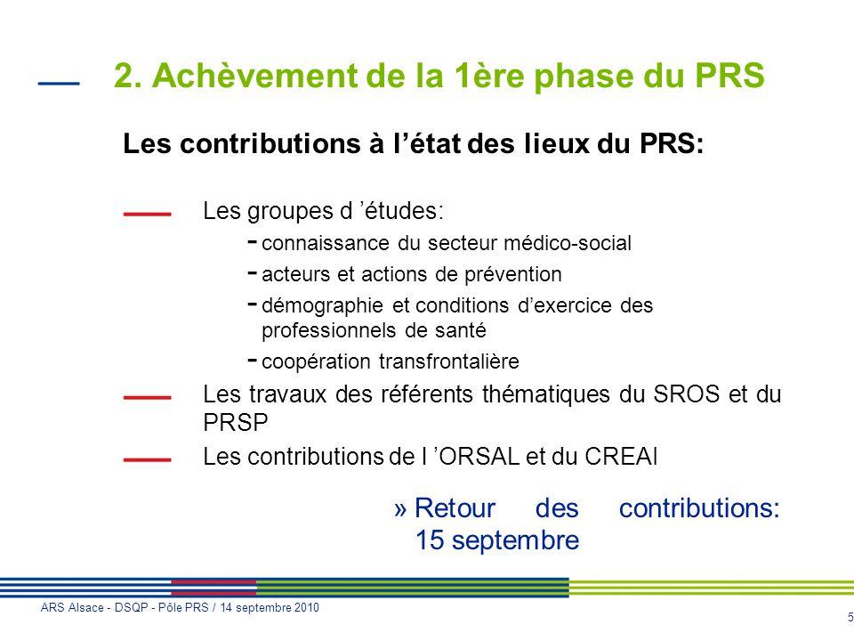 5 ARS Alsace - DSQP - Pôle PRS / 14 septembre 2010 2. Achèvement de la 1ère phase du PRS Les contributions à létat des lieux du PRS: Les groupes d étu