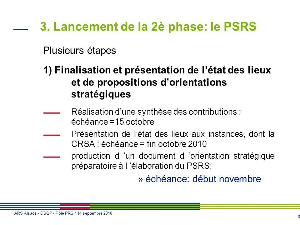 6 ARS Alsace - DSQP - Pôle PRS / 14 septembre 2010 3. Lancement de la 2è phase: le PSRS Plusieurs étapes 1) Finalisation et présentation de létat des