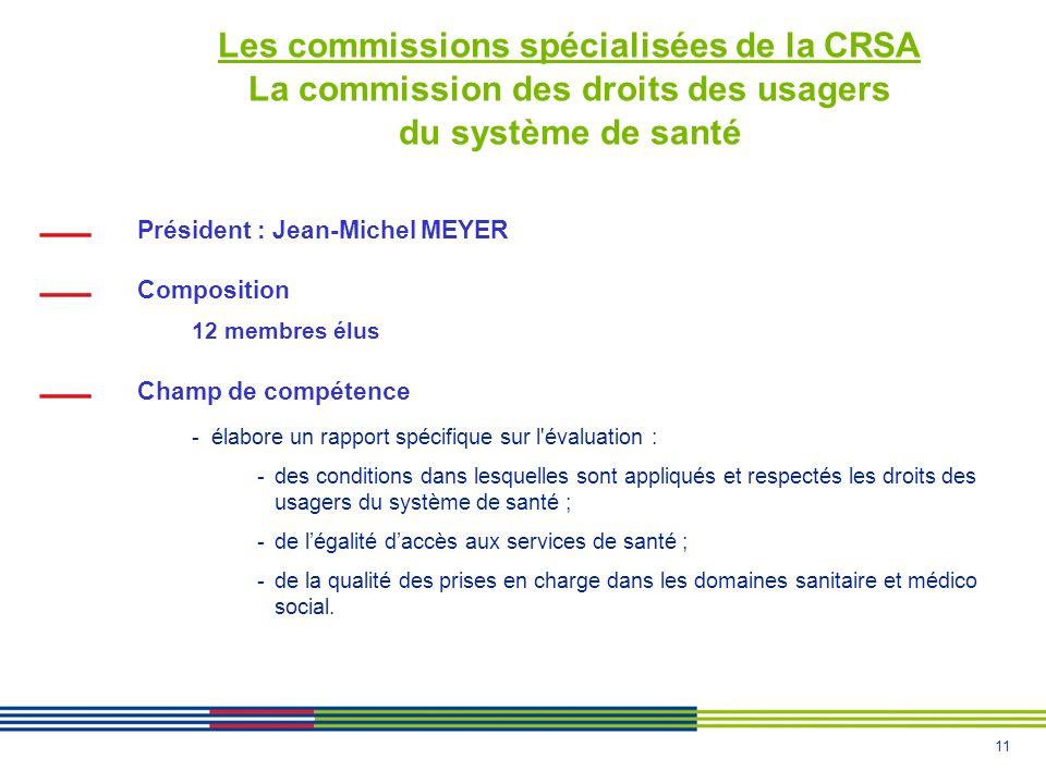 11 Les commissions spécialisées de la CRSA La commission des droits des usagers du système de santé Président : Jean-Michel MEYER Composition 12 membr