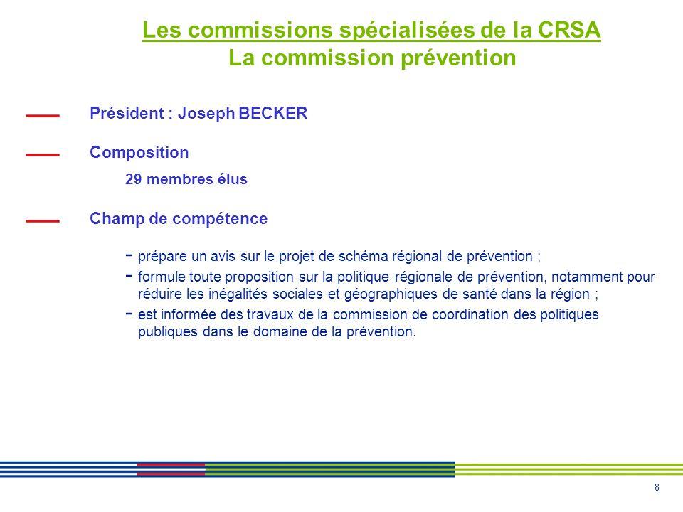 8 Les commissions spécialisées de la CRSA La commission prévention Président : Joseph BECKER Composition 29 membres élus Champ de compétence - prépare