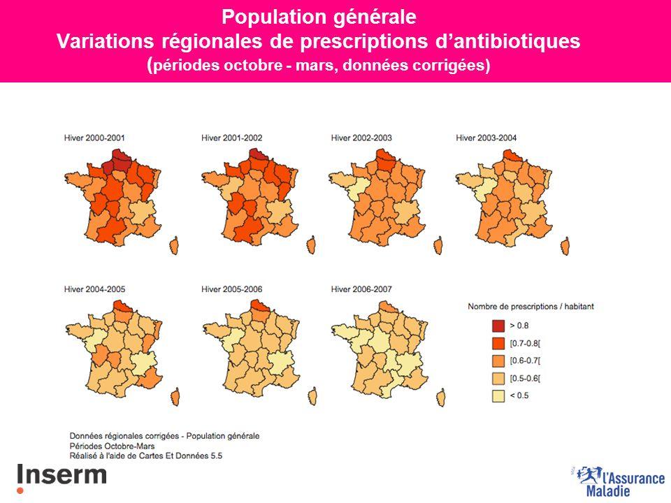 15 ans Variations régionales de prescriptions dantibiotiques ( périodes octobre - mars, données corrigées)