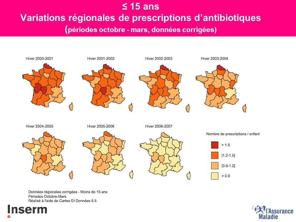 > 15 ans Variations régionales de prescriptions dantibiotiques ( périodes octobre - mars, données corrigées)