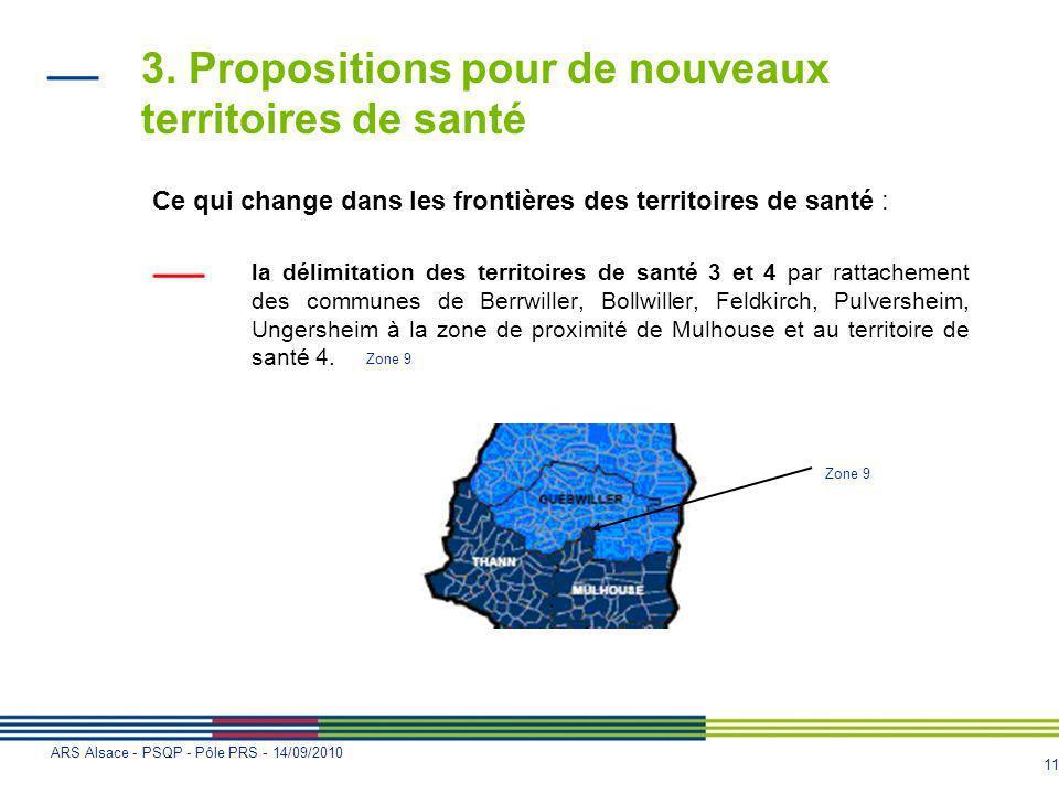 11 ARS Alsace - PSQP - Pôle PRS - 14/09/2010 3. Propositions pour de nouveaux territoires de santé Ce qui change dans les frontières des territoires d