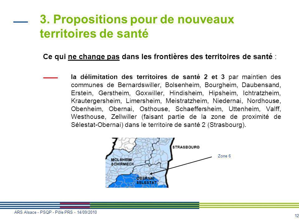 12 ARS Alsace - PSQP - Pôle PRS - 14/09/2010 3. Propositions pour de nouveaux territoires de santé Ce qui ne change pas dans les frontières des territ
