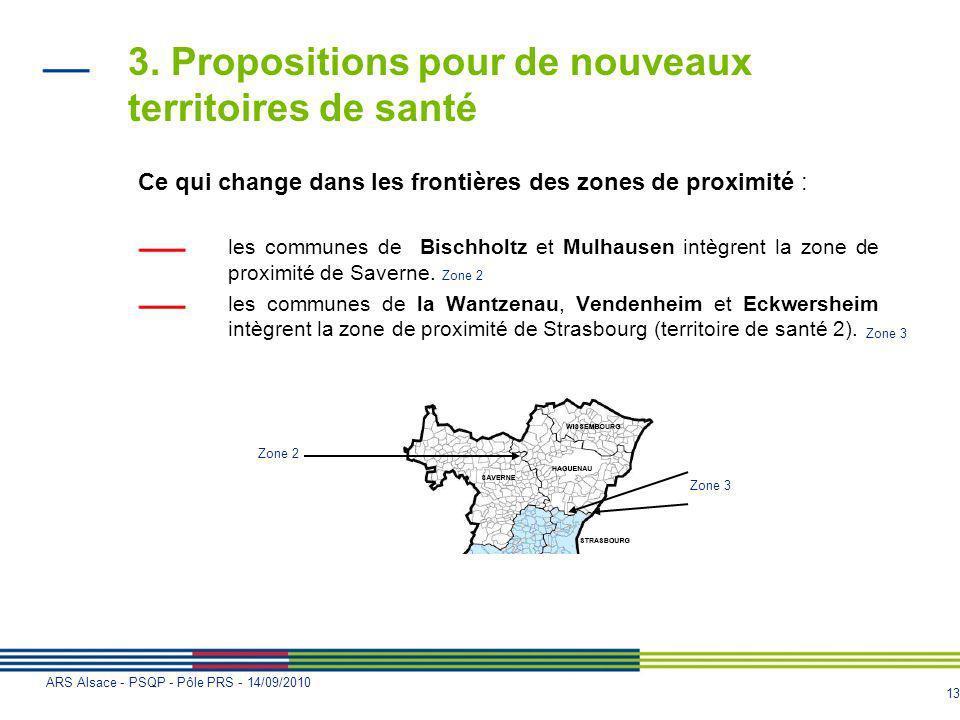 13 ARS Alsace - PSQP - Pôle PRS - 14/09/2010 3. Propositions pour de nouveaux territoires de santé Ce qui change dans les frontières des zones de prox
