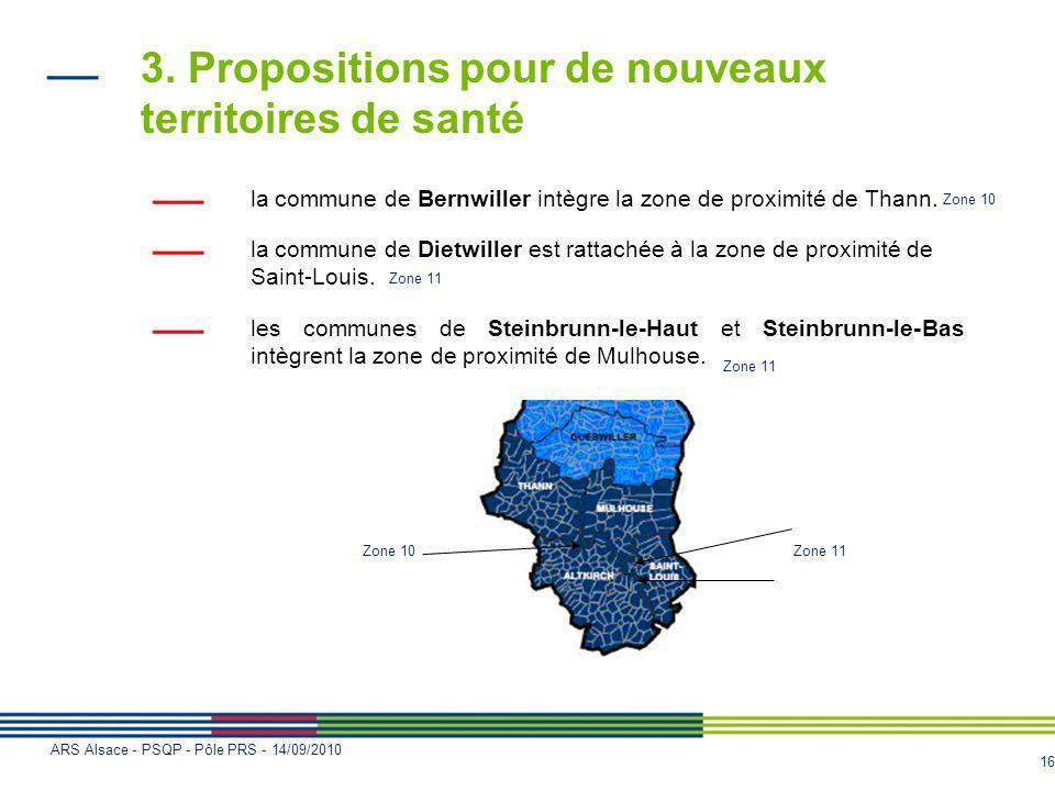 16 ARS Alsace - PSQP - Pôle PRS - 14/09/2010 3. Propositions pour de nouveaux territoires de santé la commune de Bernwiller intègre la zone de proximi
