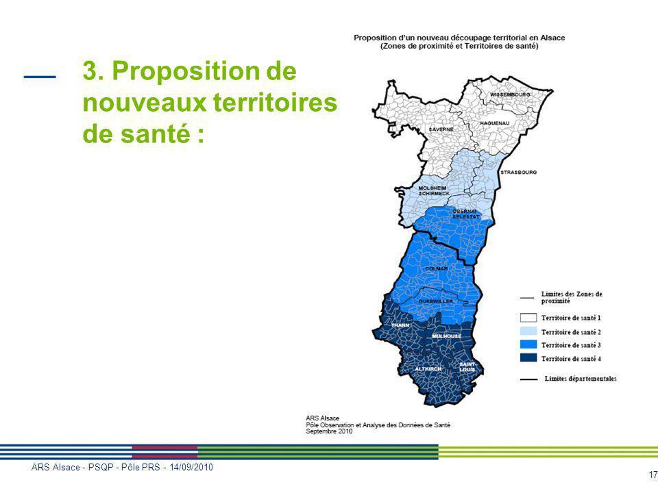 17 ARS Alsace - PSQP - Pôle PRS - 14/09/2010 3. Proposition de nouveaux territoires de santé :