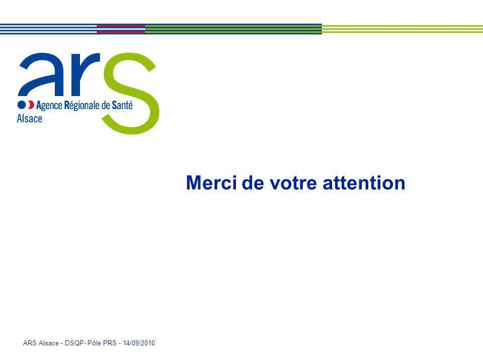 ARS Alsace - DSQP- Pôle PRS - 14/09/2010 Merci de votre attention