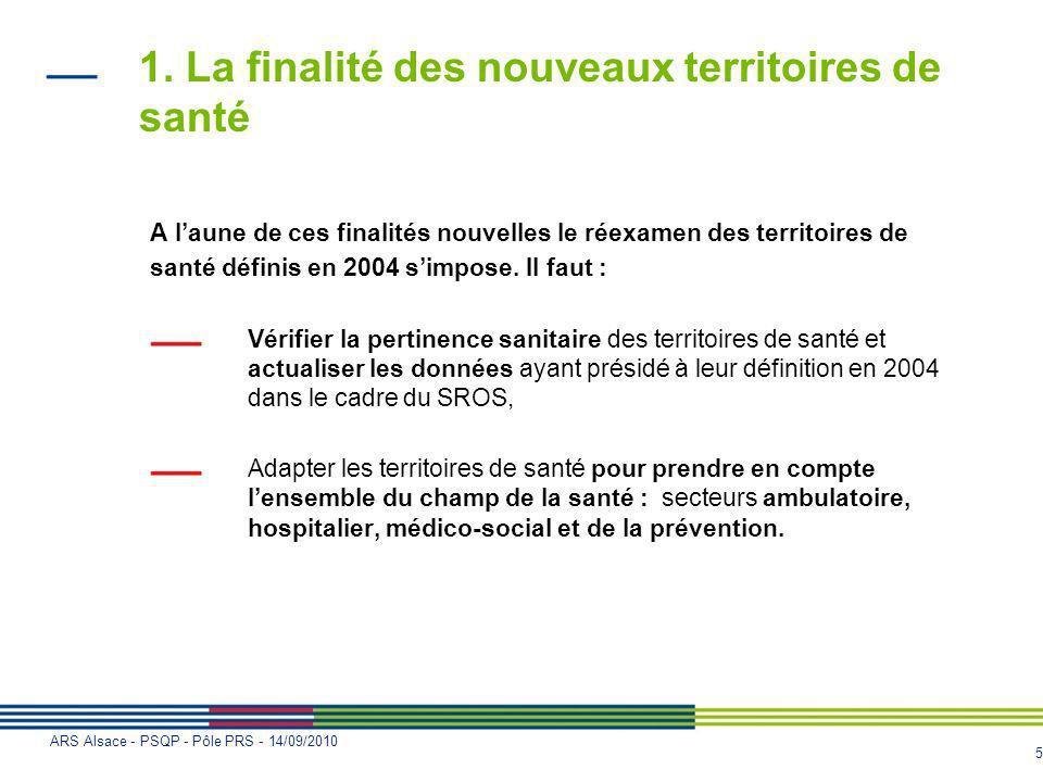 5 ARS Alsace - PSQP - Pôle PRS - 14/09/2010 1. La finalité des nouveaux territoires de santé A laune de ces finalités nouvelles le réexamen des territ