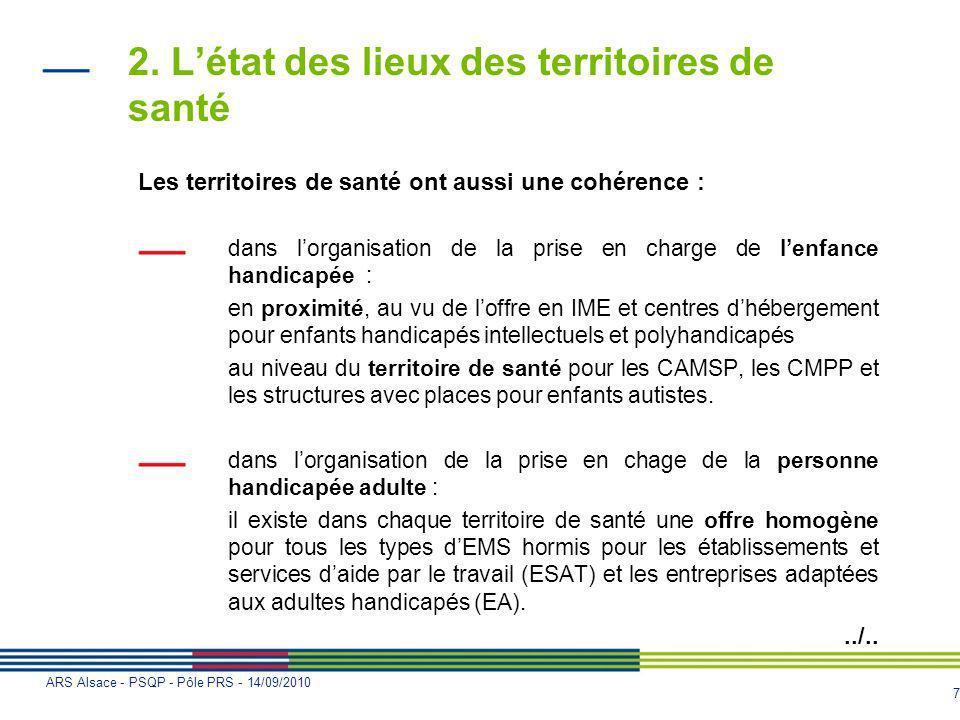 7 ARS Alsace - PSQP - Pôle PRS - 14/09/2010 2. Létat des lieux des territoires de santé Les territoires de santé ont aussi une cohérence : dans lorgan