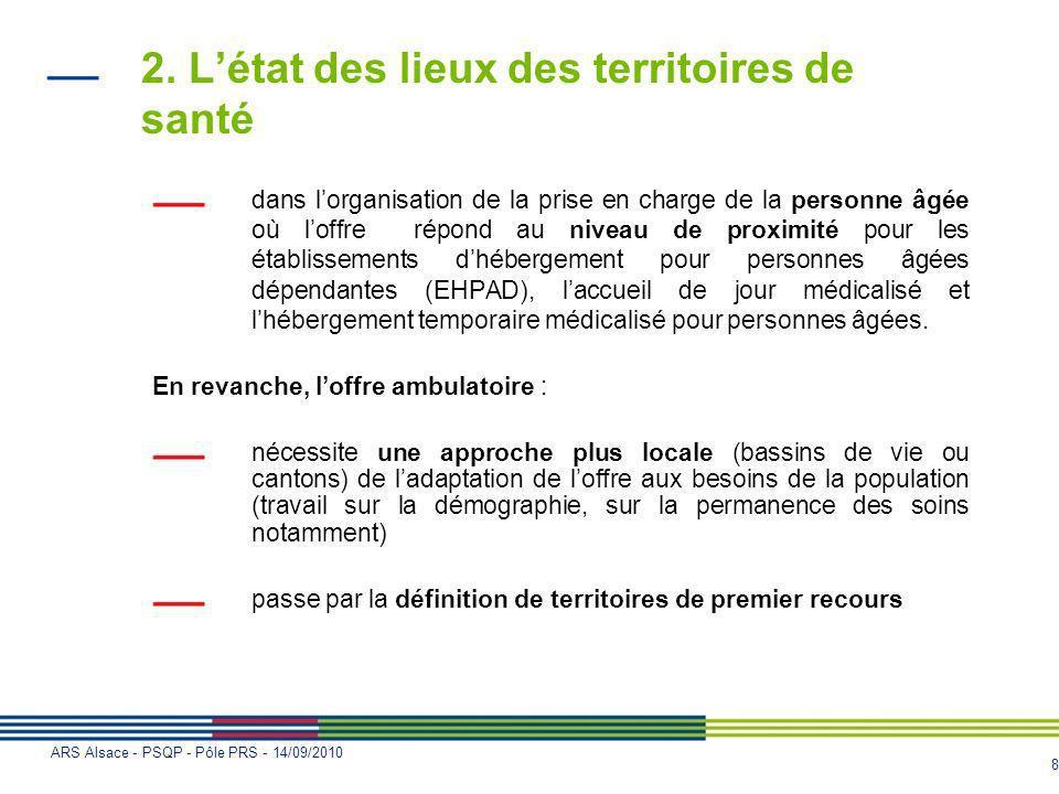 8 ARS Alsace - PSQP - Pôle PRS - 14/09/2010 2. Létat des lieux des territoires de santé dans lorganisation de la prise en charge de la personne âgée o