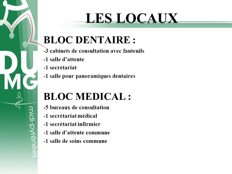 LES LOCAUX BLOC DENTAIRE : -3 cabinets de consultation avec fauteuils -1 salle dattente -1 secrétariat -1 salle pour panoramiques dentaires BLOC MEDIC