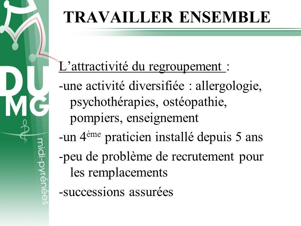 TRAVAILLER ENSEMBLE Lattractivité du regroupement : -une activité diversifiée : allergologie, psychothérapies, ostéopathie, pompiers, enseignement -un