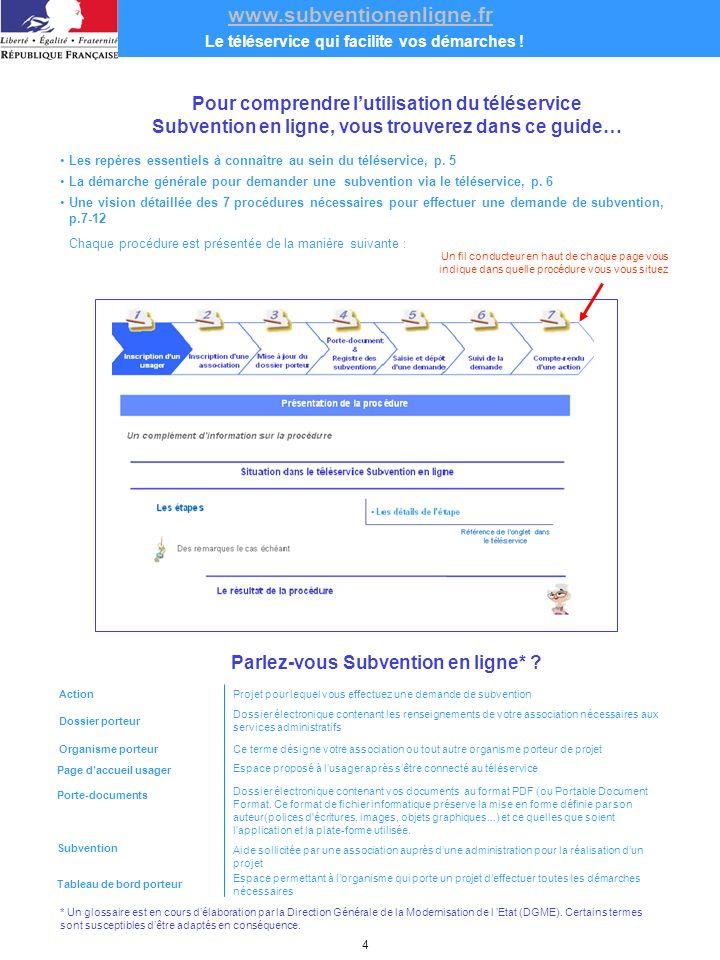www.subventionenligne.fr Le téléservice qui facilite vos démarches .