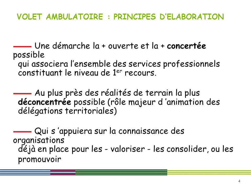 4 VOLET AMBULATOIRE : PRINCIPES DELABORATION Une démarche la + ouverte et la + concertée possible qui associera lensemble des services professionnels constituant le niveau de 1 er recours.