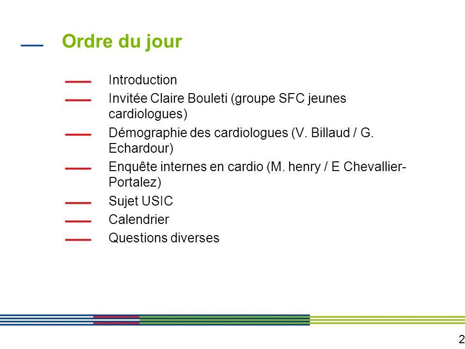 2 Ordre du jour Introduction Invitée Claire Bouleti (groupe SFC jeunes cardiologues) Démographie des cardiologues (V. Billaud / G. Echardour) Enquête
