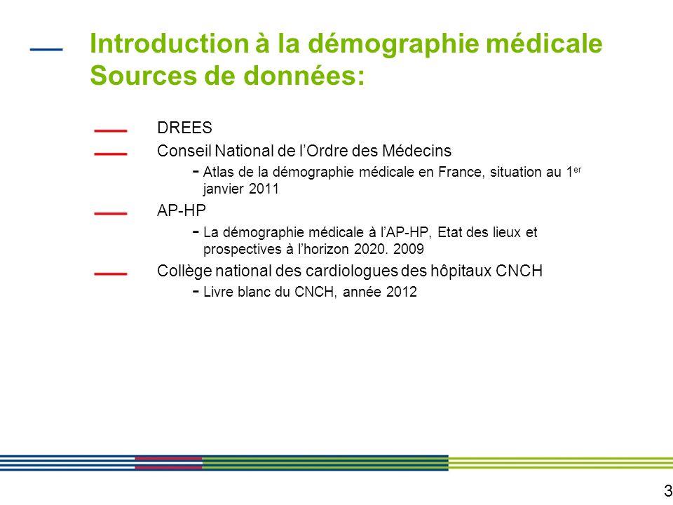 3 Introduction à la démographie médicale Sources de données: DREES Conseil National de lOrdre des Médecins - Atlas de la démographie médicale en Franc