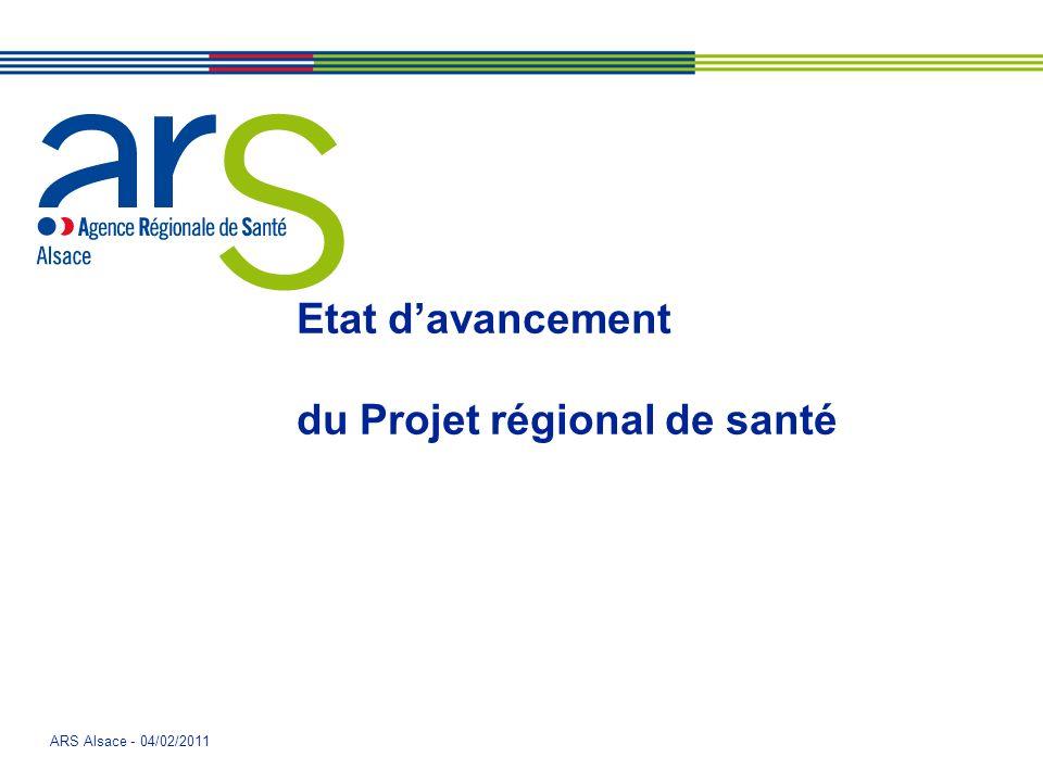 ARS Alsace - 04/02/2011 Etat davancement du Projet régional de santé