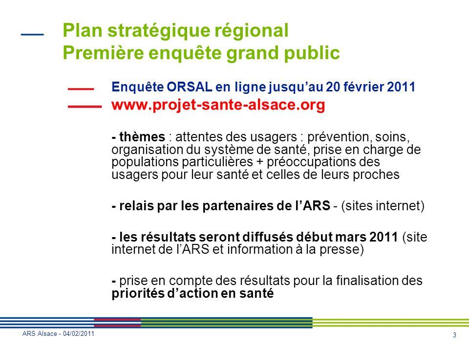 4 ARS Alsace - 04/02/2011 Cadre du projet régional de santé
