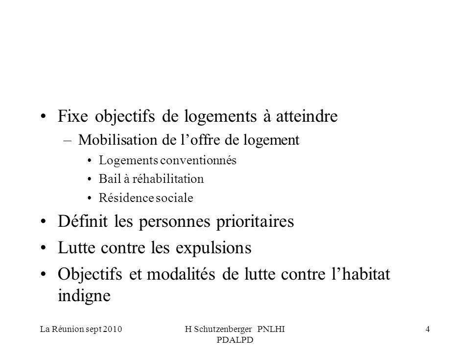 La Réunion sept 2010H Schutzenberger PNLHI PDALPD 5 Lutte contre l habitat indigne En matière de lutte contre l habitat indigne, le plan définit : les objectifs à atteindre en matière de nombre de logements à traiter ; les mesures et les actions à mettre en œuvre, notamment les PIG, et OPAH les modalités de suivi et d évaluation de ces mesures et actions ; les missions confiées à l observatoire nominatif des logements indignes et des locaux impropres à l habitation, prévu à l article 4 de la loi du 31 mai 1990 susvisée.l article 4 de la loi du 31 mai 1990 susvisée