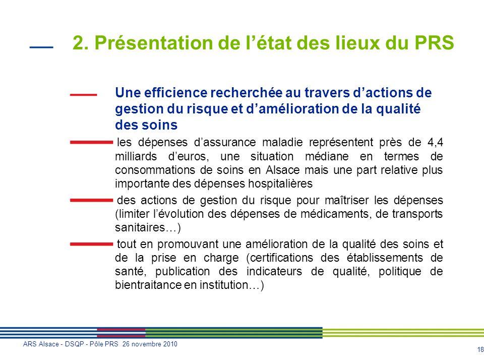 18 ARS Alsace - DSQP - Pôle PRS 26 novembre 2010 2. Présentation de létat des lieux du PRS Une efficience recherchée au travers dactions de gestion du