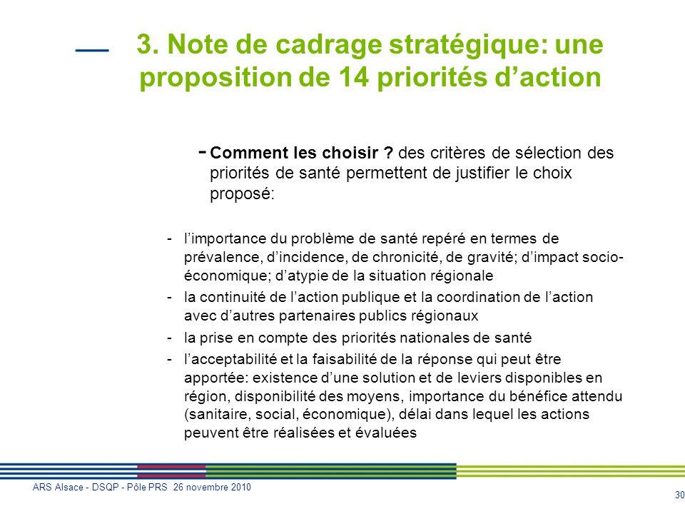 30 ARS Alsace - DSQP - Pôle PRS 26 novembre 2010 3. Note de cadrage stratégique: une proposition de 14 priorités daction - Comment les choisir ? des c