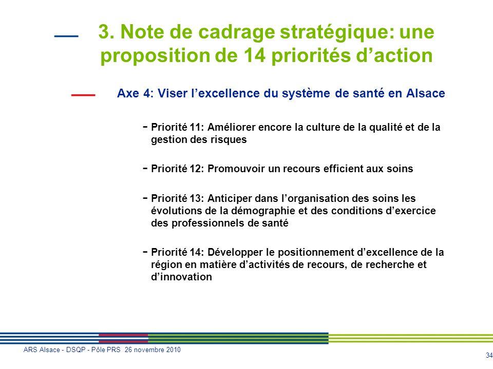 34 ARS Alsace - DSQP - Pôle PRS 26 novembre 2010 3. Note de cadrage stratégique: une proposition de 14 priorités daction Axe 4: Viser lexcellence du s
