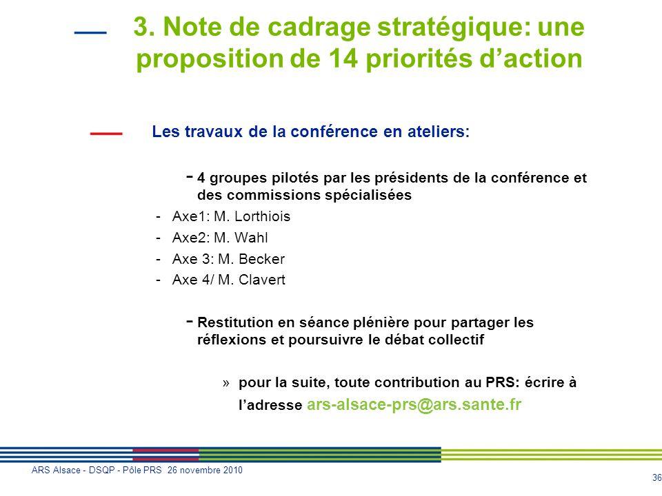 36 ARS Alsace - DSQP - Pôle PRS 26 novembre 2010 3. Note de cadrage stratégique: une proposition de 14 priorités daction Les travaux de la conférence
