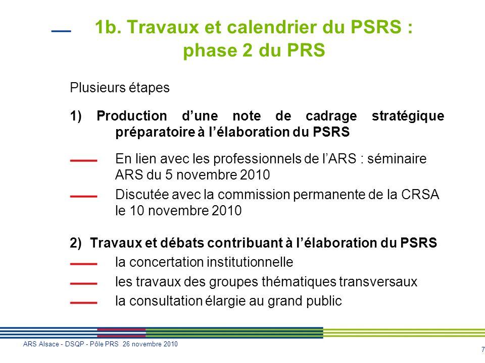 7 ARS Alsace - DSQP - Pôle PRS 26 novembre 2010 1b. Travaux et calendrier du PSRS : phase 2 du PRS Plusieurs étapes 1) Production dune note de cadrage