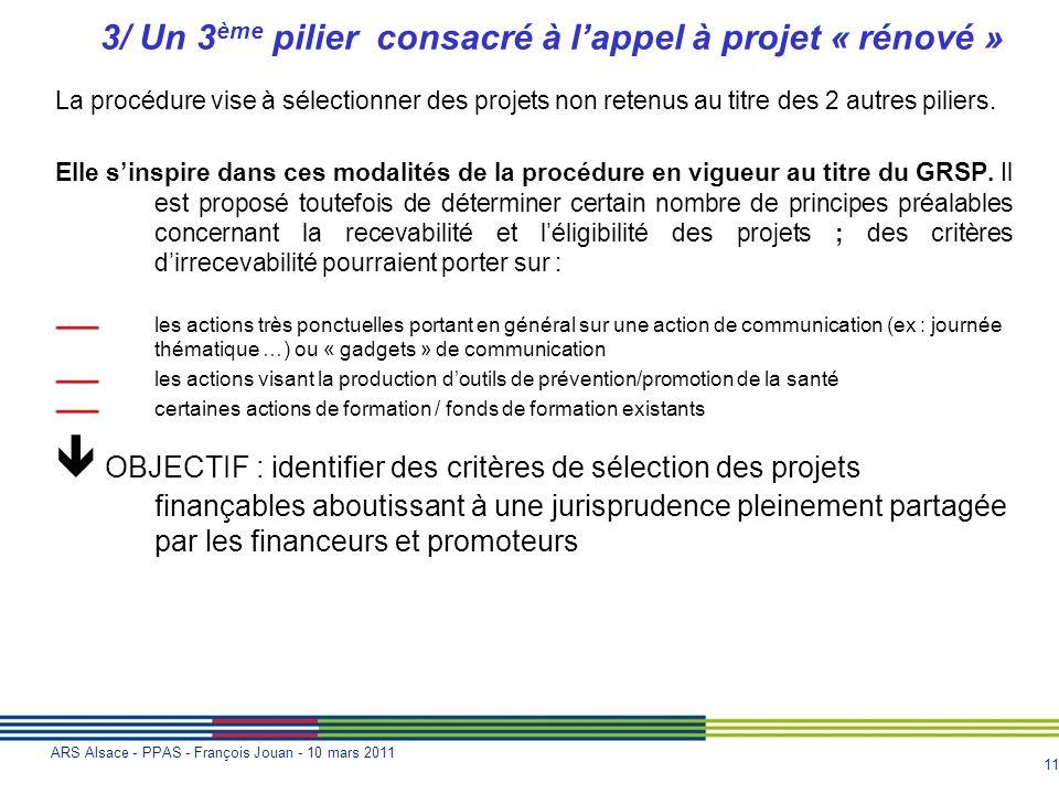 11 ARS Alsace - PPAS - François Jouan - 10 mars 2011 3/ Un 3 ème pilier consacré à lappel à projet « rénové » La procédure vise à sélectionner des pro