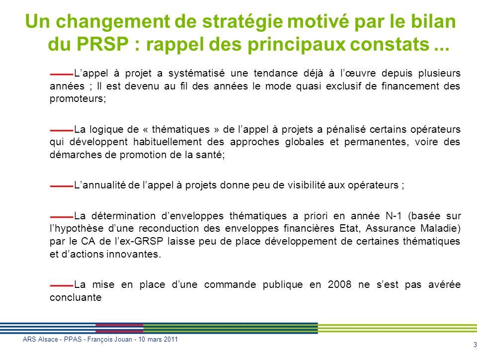3 ARS Alsace - PPAS - François Jouan - 10 mars 2011 Un changement de stratégie motivé par le bilan du PRSP : rappel des principaux constats... Lappel